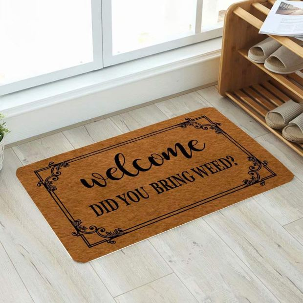 heyhellohigh stoner decor doormat