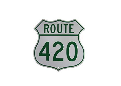 heyhellohigh stoner decor vintage 420 road sign