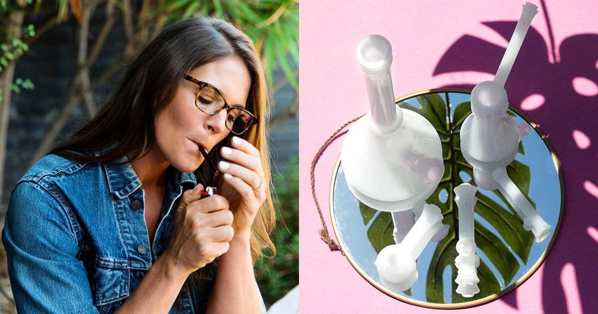 Jane West cannabis entrepreneur with her glassware